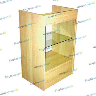 Assembled Glass Front Cash Register Stand - Maple