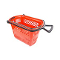 Plastic Shopping Basket With Wheels - Red